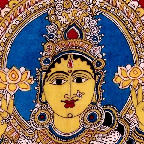 Goddess Gajalaxmi - Kalamkari Cotton Painting
