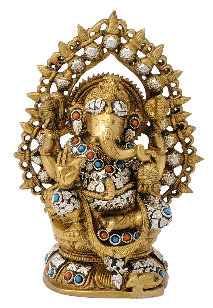 Lord Chaturbhuj Ganesha Brass Sculpture 10.25""