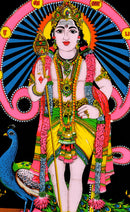 Standing Lord Murugan Swami  - Sequin Decorated Wall Tapestry