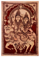 Cosmic Couple Gora Shiva - Large Kalamkari Painting