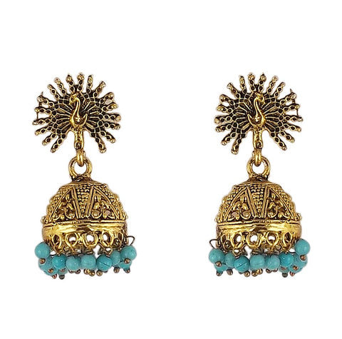 Peacock Beautiful Indian Style Jhumki Earrings