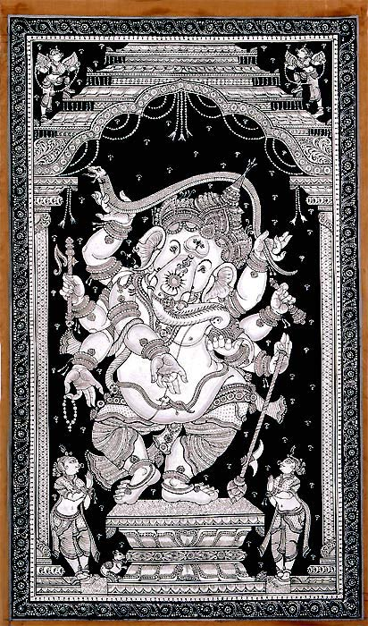 Dancing God Ganesha - Patachitra Painting