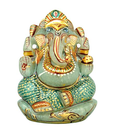 """God of Good Luck"" Lord Ganesh - Gemstone Statue"