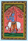 'Lord Krishna' Vishnu Dashavtar Patachitra Painting