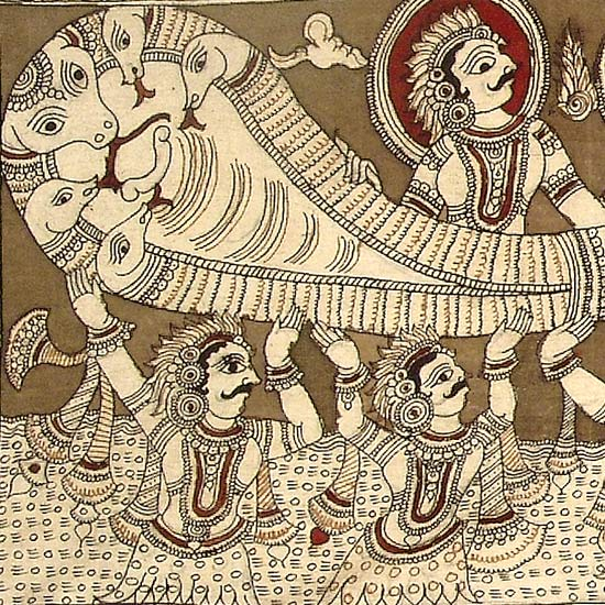 'Samudra Manthan' Churning Of The Ocean - Kalamkari Painting