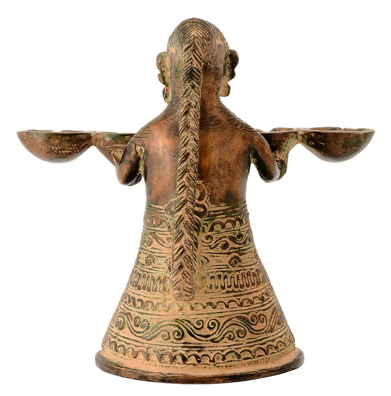Dhokra Tribal Lady Figurine Holding Five Wick Lamp