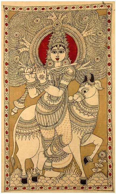 Lord Krishna as Gau Gopala - Cotton Kalamkari Painting
