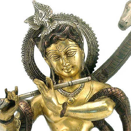Lord Krishna Playing Flute - Brass Statue