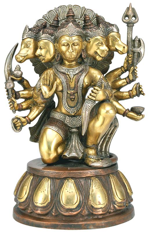 """Panchmukhi Lord Hanuman"" Brass Sculpture 13.50"""
