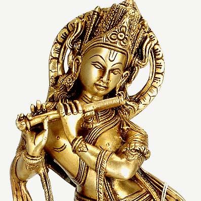 """Cowherd Krishna"" Brass Sculpture"