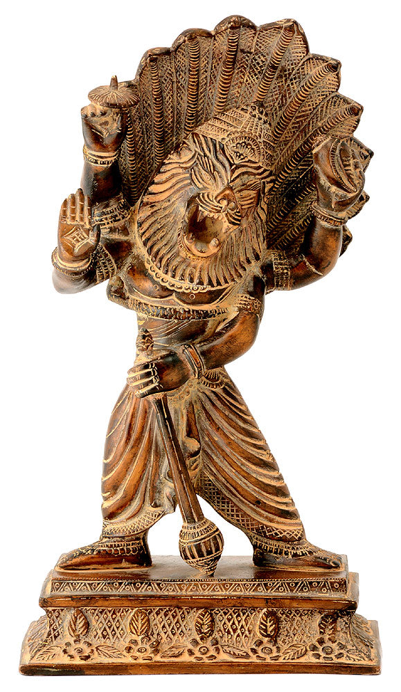 Blessing Lord Narasimha Statue in Brown Antique Finish