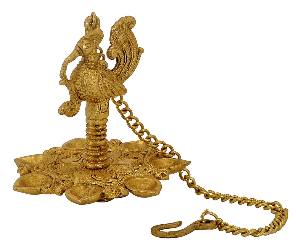 Decorative Peacock Wick Hanging Lamp in Brass