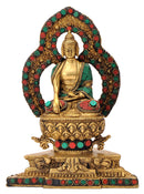 Ornate Buddha Seated on Lotus Base