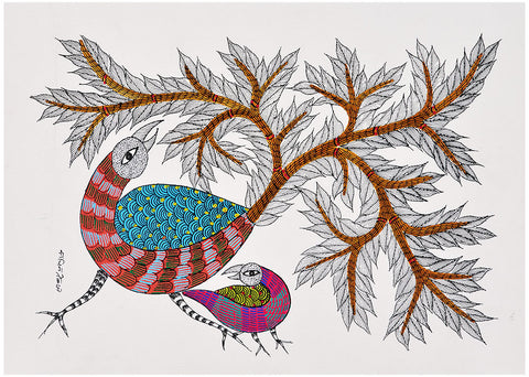 Peacocks - Folk Art Gond Panting