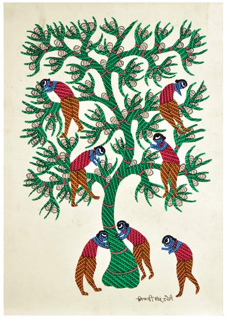 Women's Chores - Gond Painting of Central India