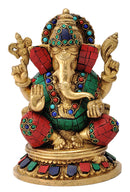 Ganesha Brass Statue with Colored Stone Work
