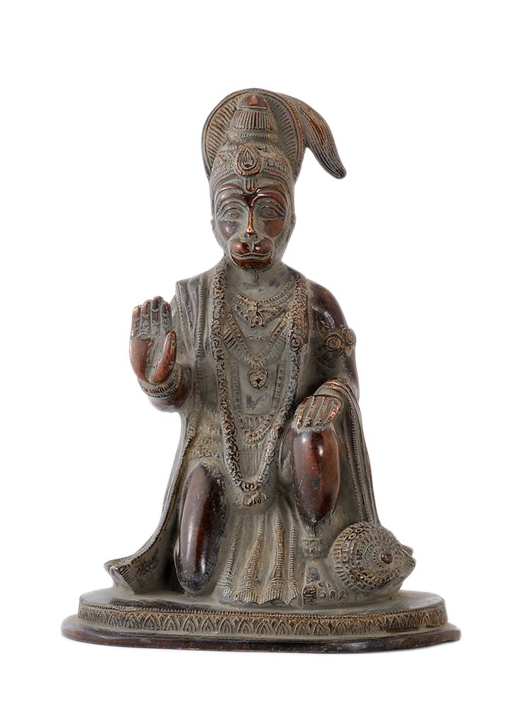 Abhaya Mudra Hanuman Statue in Old Copper Finish
