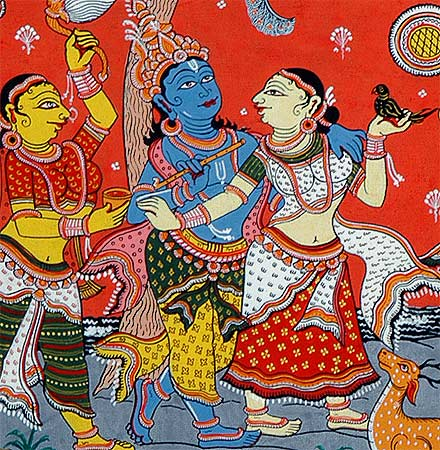Raas Leela Krishna's Dance - Patachitra Painting