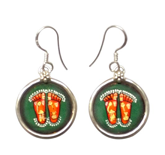 'Charan Kamal' Lotus Feet of Lord Hanuman - Earrings