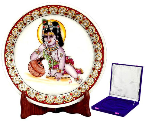 Baby Krisna Eating Butter - Marble Painting