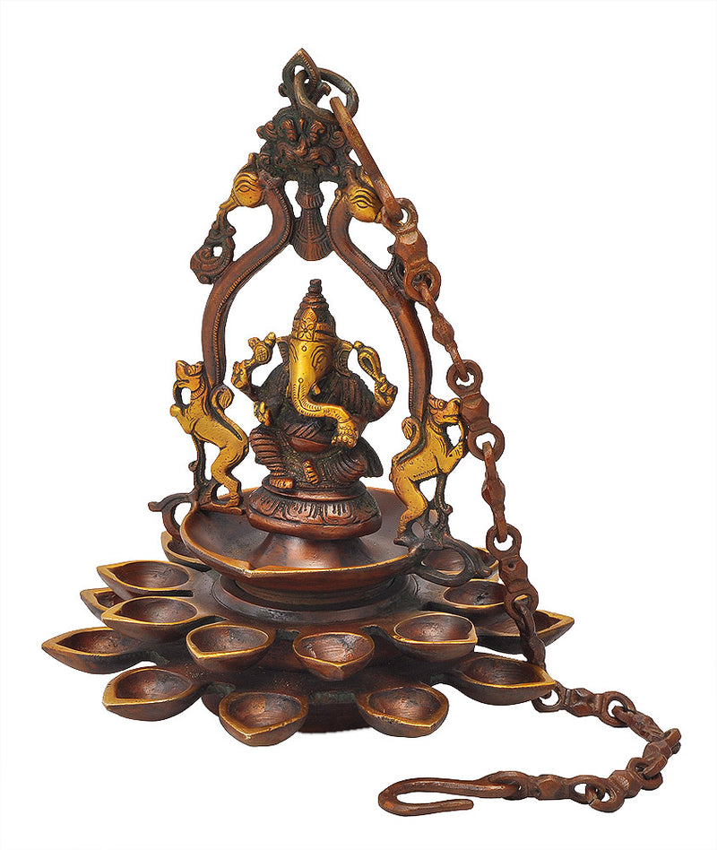 Ganesha Brass Hanging Lamp 11""
