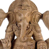 Lord Ganesha Seated on Lotus - Wooden Statue