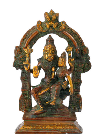 Lord Narasimha with Lakshmi - Brass Statue 7.50""
