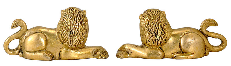 Seated Lion Pair Brass Statues