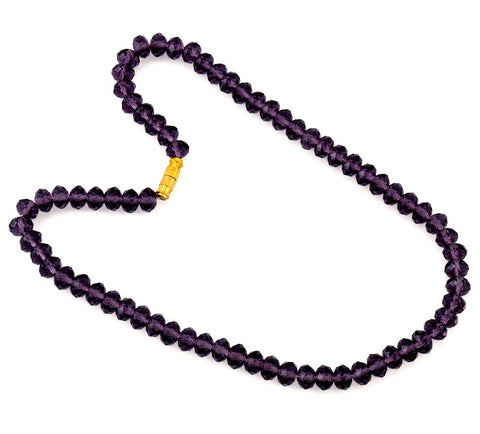 Transparent Purple Cut Stone Necklace