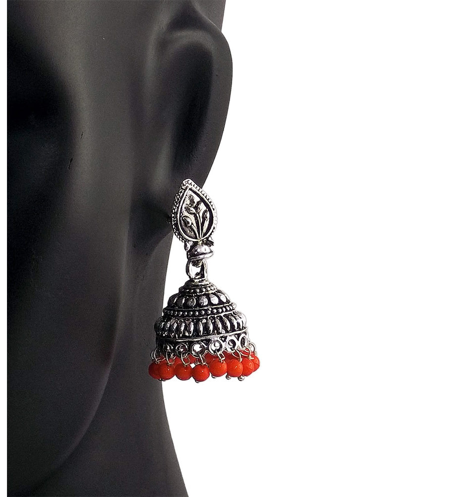 Orange Beads Traditional Indian Style Sliver Color Jhumki Earrings