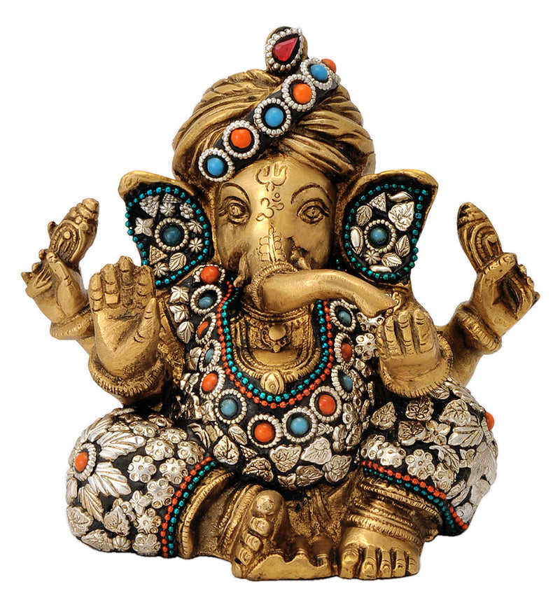God Ganesha Wearing Turban Brass Statue