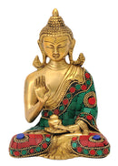 Buddha Brass Sculpture with Turquoise Coral Color Finish