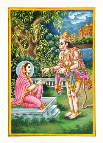 Hanuman Meets Mother Sita - Miniature Painting