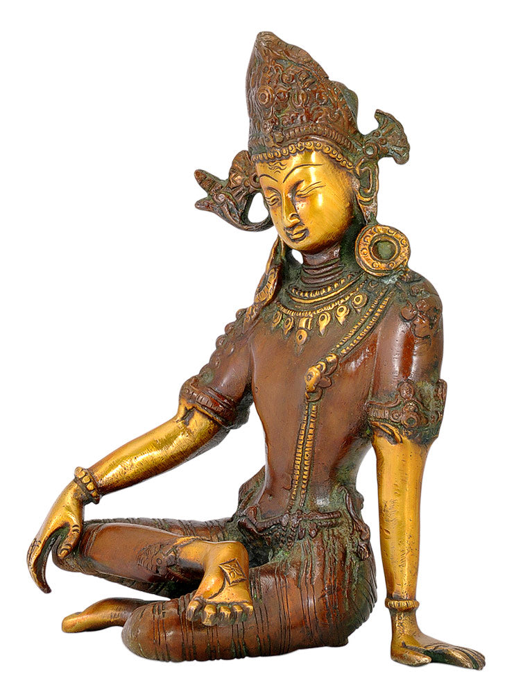 Lord Indra Dev Brass Sculpture 9.50""