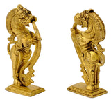 Decorative Standing Yali Brass Stand Pair