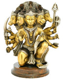 Five Headed Hanuman - Brass Statue