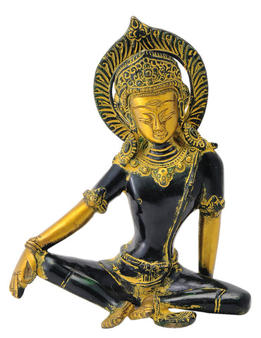 Seated Indra Dev Sculpture in Golden Black Finish 7.25""