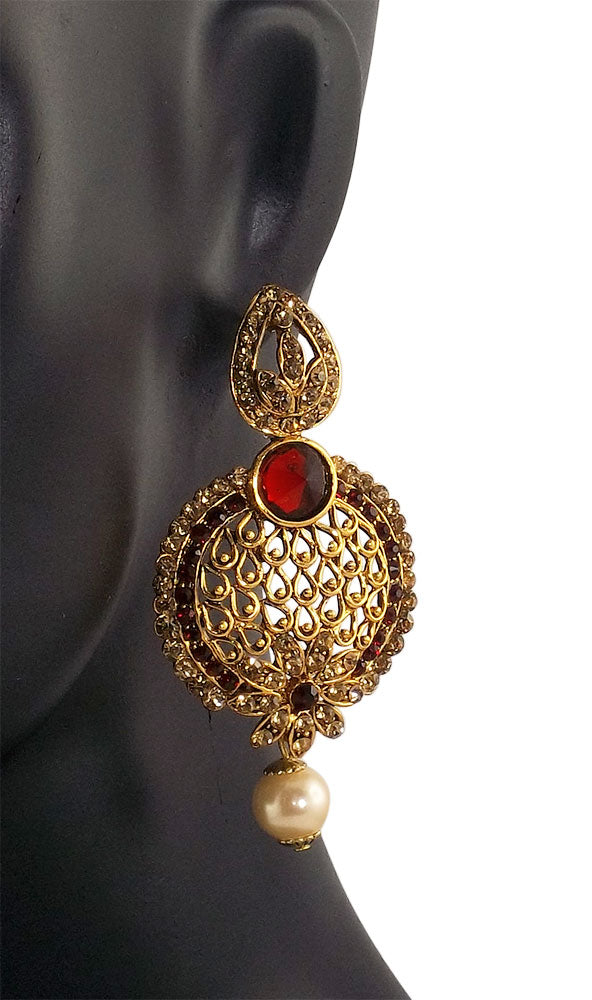 Real Red Dangle Gold Plated Fashion Earrings