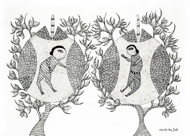 "Gond Tribal Painting ""Tree House"""