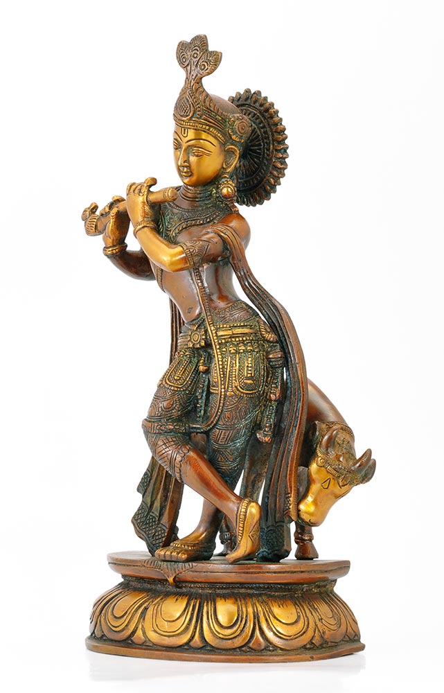 Gau Gopal Krishna Statue in Golden Brown Finish