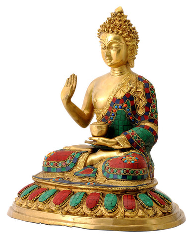 Blessing Buddha Statue with Multi Colored Stone Work