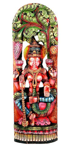 Colorful Wood Statuette - Goddess Lakshmi 36""