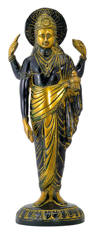 Lord Dhanvantari in Golden Black Finish