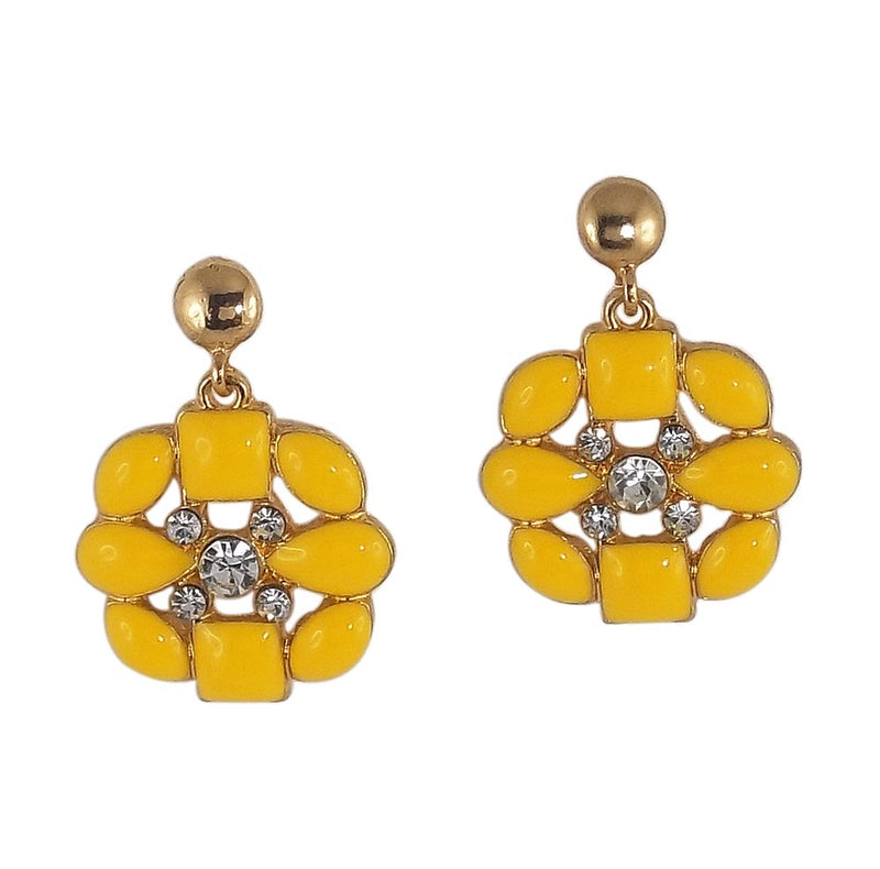 Yellow Stone Studded Dangle Earring for Women