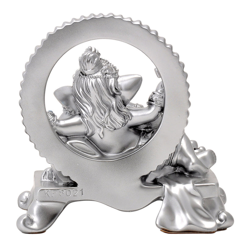 Silver Finish Polyresin Resting Lord Ganesh