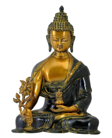 Antiquated Medicine Buddha Brass Figure 15""