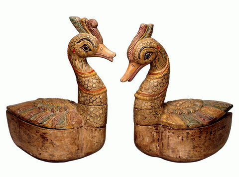 Fantasy Loving Birds - Set of 2 Duck Boxes 15""