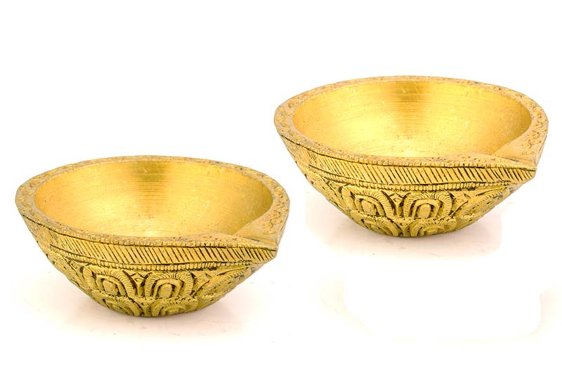 Ornate Brass Diyas (set of 2) 2.25""
