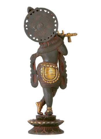 Lord Venu Gopal Krishna - Antiquated Brass Statue 12""