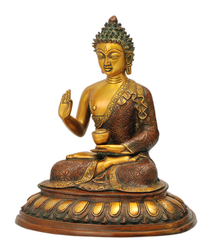 Blessing Lotus Pose Buddha Harmony Figure 15.25""